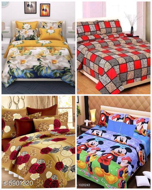 Trendy Polycotton 88  X 88 Double Bedsheet