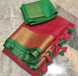 Trendy Cotton Blend Slub Women's Saree