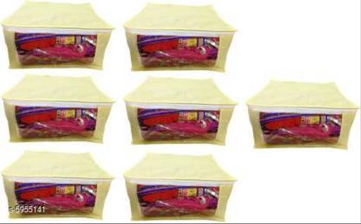 Non-Woven Saree Cover - Set Of 7 (Cream)