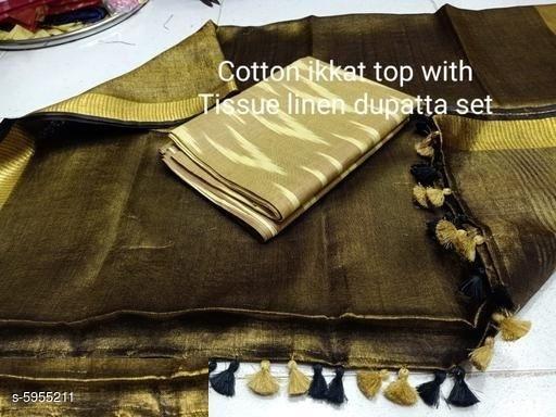Stylish Women's Cotton Ikkat Kurti Fabric With Dupatta