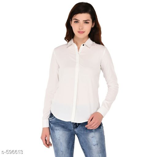 Shirts Trendy Polyester Casual Women's Shirt  *Fabric* Polyester  *Sleeves* Sleeves Are Included  *Size* S - 34 in, M - 36 in, L - 38 in, XL - 40 in Length - Up To 26 in  *Type* Stitched  *Description* It Has 1 Piece Of Women's Shirt  *Pattern* Solid  *Sizes Available* S, M, L, XL *   Catalog Rating: ★4 (372)  Catalog Name: Scarlette Typical Polyester Solid Shirt Vol 2 CatalogID_66534 C79-SC1022 Code: 472-596613-