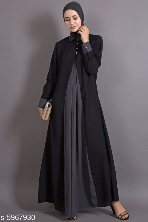 Trendy Graceful Polyester Crepe Abaya