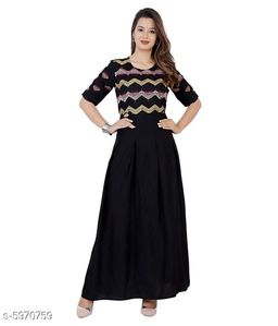 Women's Embroidered Black Rayon Kurti