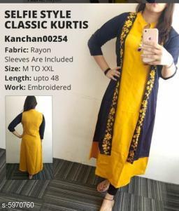 Women Rayon Shrug Kurti Printed Yellow Kurti