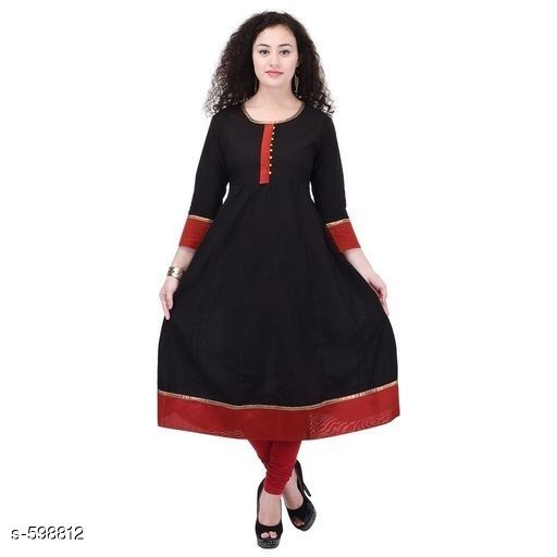 Kurtis & Kurtas Stylish Festive & Party wear Kurti  *Fabric* Kurti – Cotton  *Sleeves* Sleeves Are Included  *Size* S – 36 in, M – 38 in, L – 40 in, XL – 42 in, XXL – 44 in, XXXL – 46 in  *Length* Up To 44 in  *Type* Stitched  *Description* It Has 1 Piece Of Kurti  *Work* Printed  *Sizes Available* S, M, L, XL, XXL, XXXL   Catalog Rating: ★4 (33) Supplier Rating: ★4.2 (13687) SKU: AYN272-BKR Shipping charges: Rs1 (Non-refundable) Pkt. Weight Range: 300  Catalog Name: Black Zarastya Fashion Kurtis - Sale Mantra Code: 685-598812--246