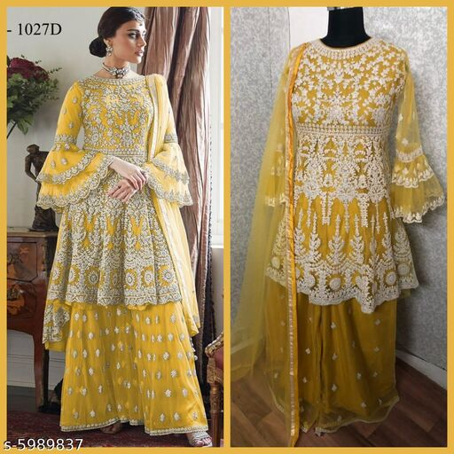 Miss Ethnik Women's Yellow Net Semi Stitched Top With Stitched Net Bottom and Net Dupatta Embroidered Flared Top Dress Material (Pakistani Suits) (1027-Yellow)