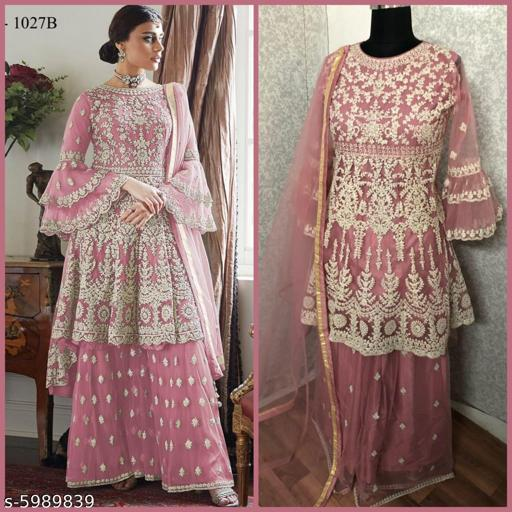 Miss Ethnik Women's Pink Net Semi Stitched Top With Stitched Net Bottom and Net Dupatta Embroidered Flared Top Dress Material (Pakistani Suits)  (1027-Pink)