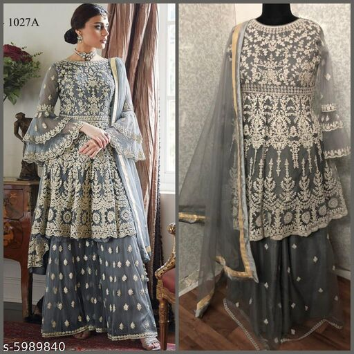 Miss Ethnik Women's Grey Net Semi Stitched Top With Stitched Net Bottom and Net Dupatta Embroidered Flared Top Dress Material (Pakistani Suits) (1027-Grey)