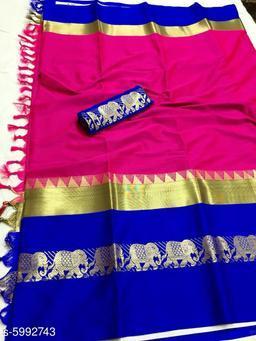 Rajawadi Elegant Elephant Design Cotton Silk Saree (Pink & Blue)