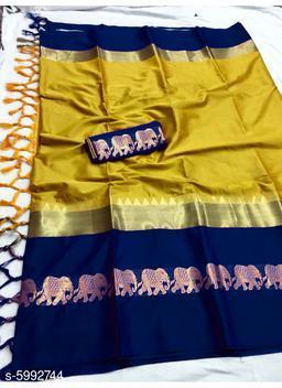 Rajawadi Elegant Elephant Design Cotton Silk Saree (Mustard & Ink Blue)