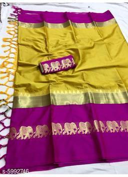 Rajawadi Elegant Elephant Design Cotton Silk Saree (Mustard Yellow & Rani)