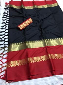 Rajawadi Elegant Elephant Design Cotton Silk Saree (Black & Red)
