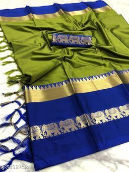 Rajawadi Elegant Elephant Design Cotton Silk Saree (Mehendi Green & Blue)