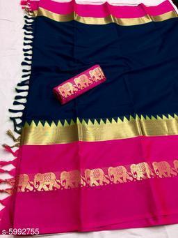 Rajawadi Elegant Elephant Design Cotton Silk Saree (Navy Blue & Pink)