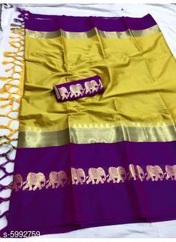 Rajawadi Elegant Elephant Design Cotton Silk Saree (Mustard & Purple)