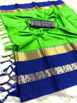 Rajawadi Elegant Elephant Design Cotton Silk Saree (Neon Green & Blue)