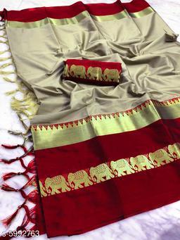 Rajawadi Elegant Elephant Design Cotton Silk Saree (Beige & Red)