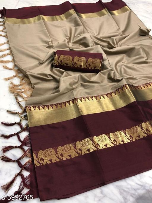 Rajawadi Elegant Elephant Design Cotton Silk Saree (Chiku & Brown)