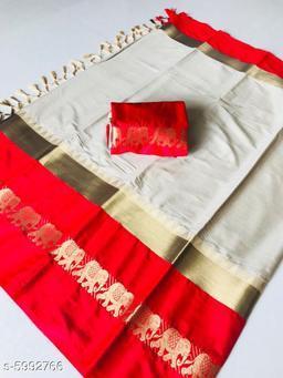 Rajawadi Elegant Elephant Design Cotton Silk Saree (White & Red)
