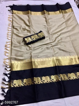 Rajawadi Elegant Elephant Design Cotton Silk Saree (Golg & Black)