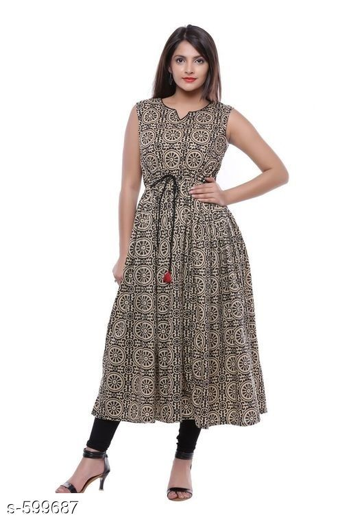 Kurtis & Kurtas Stylish Festive & Party wear Kurti  *Fabric* Kurti – Cotton  *Sleeves* Sleeves Are Not Included  *Size* S – 36 in, M – 38 in, L – 40 in, XL – 42 in, XXL – 44 in, XXXL – 46 in  *Length* Up To 44 in  *Type* Stitched  *Description* It Has 1 Piece Of Kurti  *Work* Printed  *Sizes Available* S, M, L, XL, XXL, XXXL   Catalog Rating: ★4.3 (12) Supplier Rating: ★4.2 (13687) SKU: AYN356-BKB Shipping charges: Rs1 (Non-refundable) Pkt. Weight Range: 300  Catalog Name: Yellow Rehali Kurtis Vol 1 - Sale Mantra Code: 015-599687--095