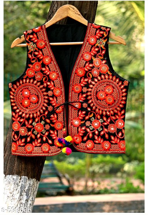 Ethnic Jackets & Shrugs Stylish Cotton Women's Jacket  *Fabric* Cotton  *Sleeves* Sleeves Are Not Included  *Size* S - 36 in, M - 38 in, L - 40 in  *Length* Up To 16 in  *Type* Stitched  *Description* It Has 1 Piece Of Women's Jacket  *Work* Kutchi Work  *Sizes Available* S, M, L *   Catalog Rating: ★4.2 (189)  Catalog Name: Navratri Kutchi Work Jackets Vol 6 CatalogID_66963 C74-SC1008 Code: 093-599805-