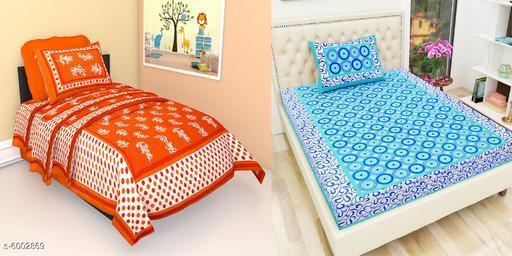 Jaipuri Printed Cotton  2 Singal  Bedsheet With 2 Pillow Covers -combo-101-106