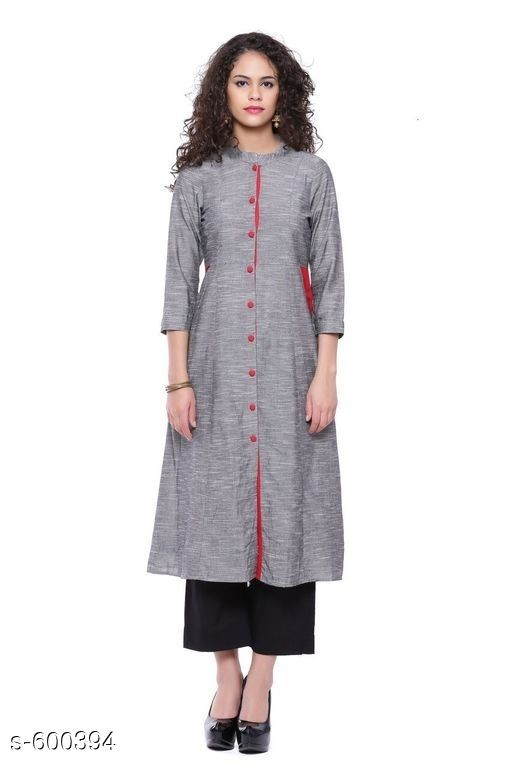 Kurtis & Kurtas Stylish Festive & Party wear Kurti  *Fabric* Kurti – Cotton  *Sleeves* Sleeves Are Included  *Size* S – 36 in, M – 38 in, L – 40 in, XL – 42 in, XXL – 44 in, XXXL – 46 in  *Length* Up To 44 in  *Type* Stitched  *Description* It Has 1 Piece Of Kurti  *Work* Printed  *Sizes Available* S, M, L, XL, XXL, XXXL   Catalog Rating: ★4.2 (296) Supplier Rating: ★4.2 (13687) SKU: AYN328-GRY Shipping charges: Rs1 (Non-refundable) Pkt. Weight Range: 300  Catalog Name: Classic Cotton Women Kurtis - Sale Mantra Code: 035-600394--785