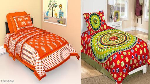 Jaipuri Printed Cotton  2 Singal  Bedsheet With 2 Pillow Covers -combo-101-115
