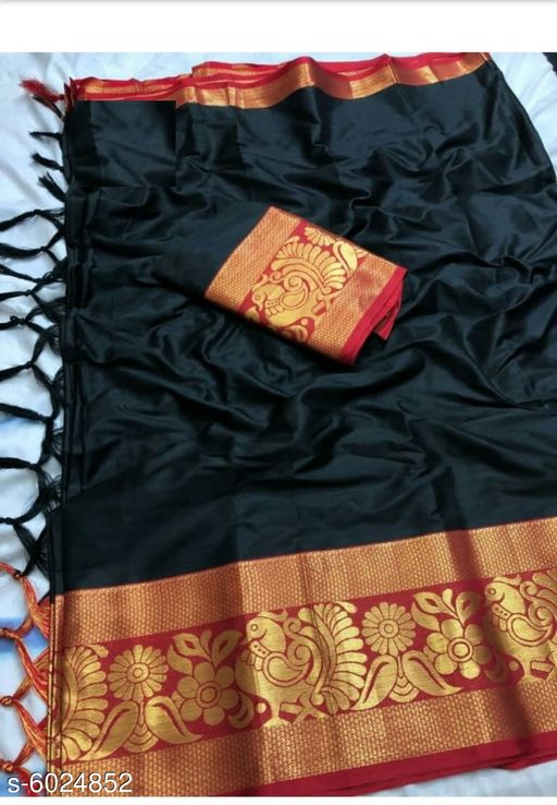 Sarees Trendy Women's Art Silk Sarees  *Saree Fabric* Art Silk  *Blouse* Running Blouse  *Blouse Fabric* Art Silk  *Pattern* Woven Design  *Blouse Pattern* Same as Saree  *Multipack* Single  *Sizes*   *Free Size (Saree Length Size* 5.5 m, Blouse Length Size  *Sizes Available* Free Size *    Catalog Name: Trendy Women's Art Silk Sarees CatalogID_913893 Code: 446-6024852-