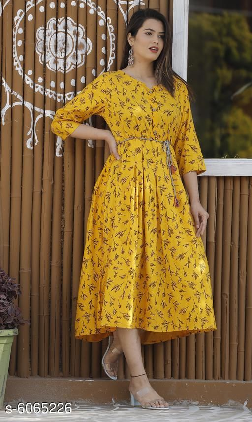 Women Rayon Pleated Printed Mustard Kurti