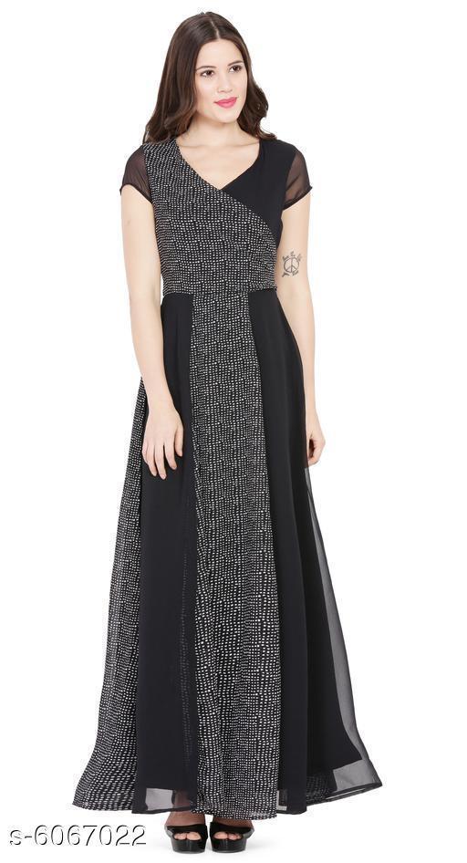 Women's Embellished Black Georgette Dress