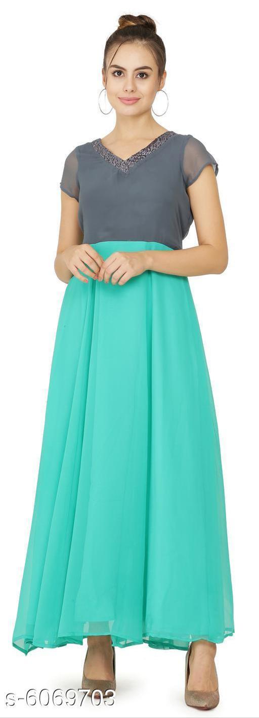 Women's Solid Aqua Blue Georgette Dress