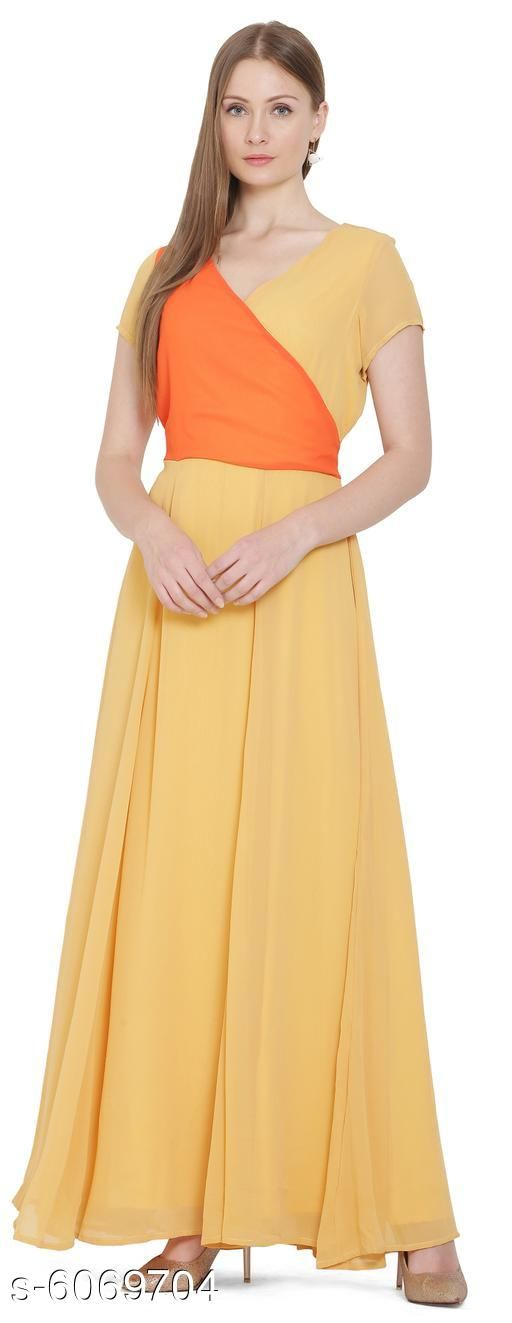 Women's Solid Yellow Georgette Dress
