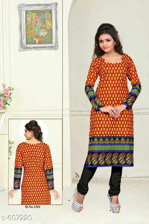 Kurti Fabric Stylish Cotton Women's Kurti Fabric Fabric: Cotton Size: 2.25 mtr Type: Un Stitched Description: It Has 1 Piece Of Kurti Fabric Work: Printed Sizes Available: Un Stitched, Free Size   Catalog Rating: ★4 (10)  Catalog Name: Orange Essential Cotton Kurtis Fabric CatalogID_67903 C74-SC1326 Code: 122-607220-