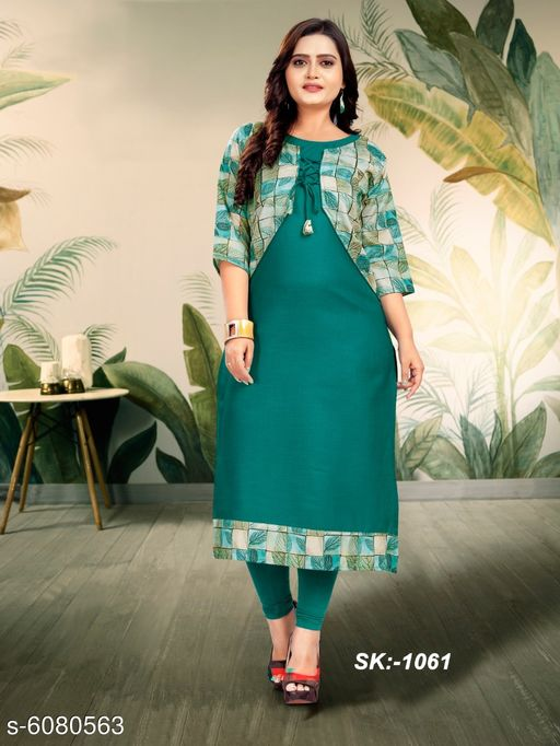 Kurtis & Kurtas Voguish Ruby Cotton Women Kurti  *Kurta Fabric* Ruby Cotton  *Jacket Fabric* Ruby Cotton  *Sleeve Length* Three-Quarter Sleeves  *Set Type* Jacket Attached with Kurti  *Pattern* Printed  *Multipack* Single  *Sizes*   *XL (Bust Size* 42 in, Kurta Length Size  *L (Bust Size* 40 in, Kurta Length Size  *M (Bust Size* 38 in, Kurta Length Size  *XXL (Bust Size* 44 in, Kurta Length Size  *Type * Stitched  *Sizes Available* M, L, XL, XXL   Supplier Rating: ★3.4 (551) SKU: 806a17c1-6643-41e3-9239-94d95eea8db2 Free shipping is available for this item. Pkt. Weight Range: 500  Catalog Name: Trendy Ruby Cotton Women Kurti - Star Enterprise sarees Code: 455-6080563--