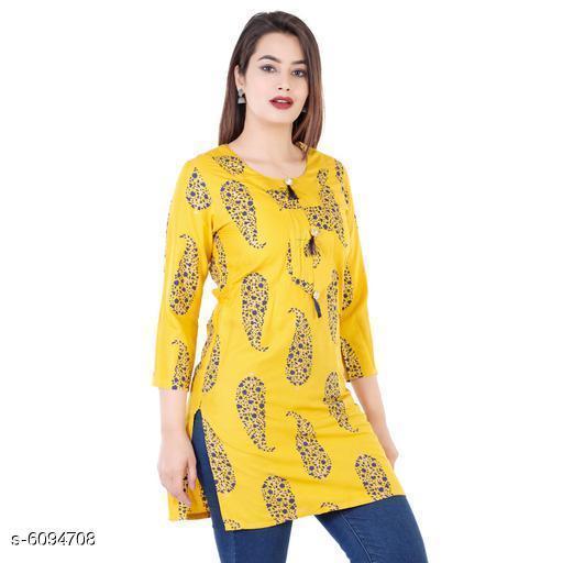 Women Rayon Short Kurti Printed Yellow Kurti