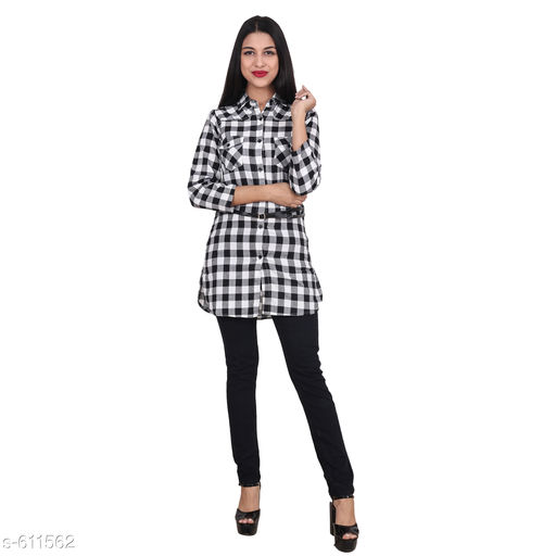 Shirts Stylish Cotton Tunic  *Fabric* Cotton  *Sleeves* Sleeves Are Included  *Size* S- 36 in, M- 38 in, L- 40 in  *Length* Up To 32 in  *Type* Stitched  *Description* It Has 1 Piece Of Women's Tunic  *Pattern* Checkered  *Sizes Available* S, M, L, XL *   Catalog Rating: ★4 (130)  Catalog Name: Free Mask Trendyfrog Cecilia Sassy Cotton Shirts Vol 2 CatalogID_68485 C79-SC1022 Code: 743-611562-