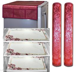 Fridge Cover with PVC Mat set of 3 and 2 fridge handle cover