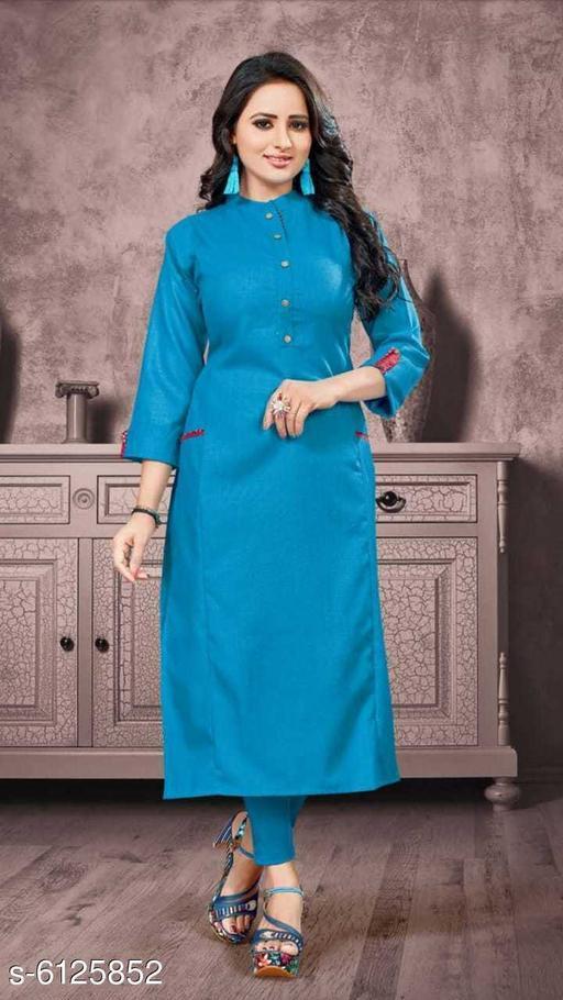 Women's Solid Cotton Linen Anarkali Kurti