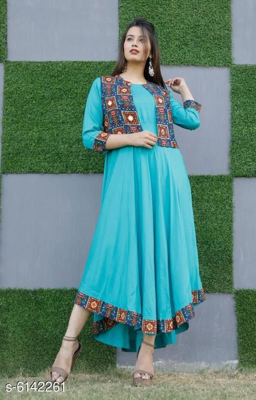 Kurtis & Kurtas Women's Printed Rayon Kurta set   *Kurti Fabric* Rayon  *Jacket Fabric* Rayon  *Bottomwear Fabric* Rayon  *Fabric* Rayon  *Sleeve Length* Three-Quarter Sleeves  *Set Type* Kurti With Jacket  *Pattern* Printed  *Multipack* Single  *Sizes*   *XL (Kurti Bust Size* 42 in, Kurti Length Size  *L (Kurti Bust Size* 40 in, Kurti Length Size  *M (Kurti Bust Size* 38 in, Kurti Length Size  *XXL (Kurti Bust Size* 44 in, Kurti Length Size  *Sizes Available* M, L, XL, XXL *    Catalog Name: Women's Printed Rayon Kurta Sets CatalogID_935094 Code: 946-6142261-