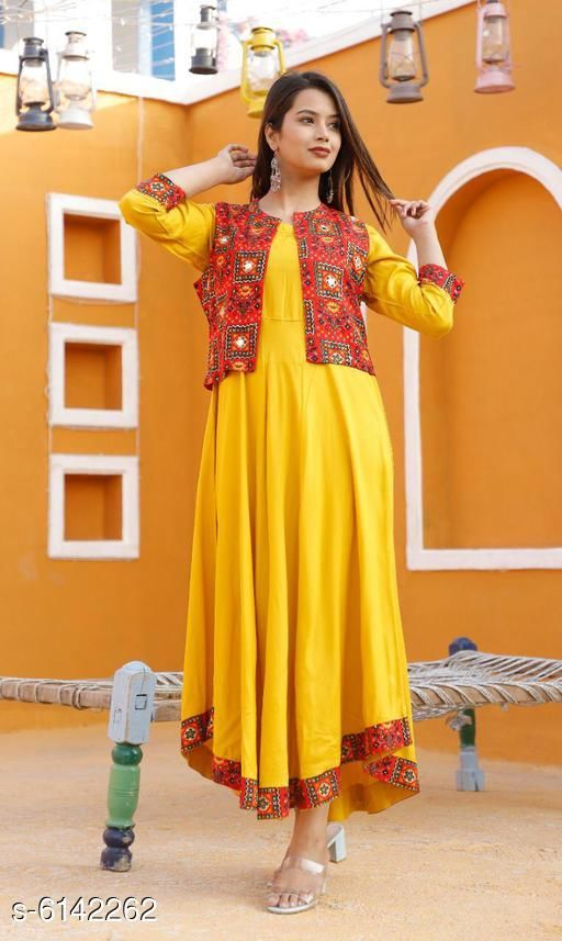 Kurtis & Kurtas Women's Printed Rayon Kurta set   *Kurti Fabric* Rayon  *Jacket Fabric* Rayon  *Bottomwear Fabric* Rayon  *Fabric* Rayon  *Sleeve Length* Three-Quarter Sleeves  *Set Type* Kurti With Jacket  *Pattern* Printed  *Multipack* Single  *Sizes*   *XL (Kurti Bust Size* 42 in, Kurti Length Size  *L (Kurti Bust Size* 40 in, Kurti Length Size  *M (Kurti Bust Size* 38 in, Kurti Length Size  *XXL (Kurti Bust Size* 44 in, Kurti Length Size  *Sizes Available* M, L, XL, XXL *    Catalog Name: Women's Printed Rayon Kurta Sets CatalogID_935094 Code: 946-6142262-