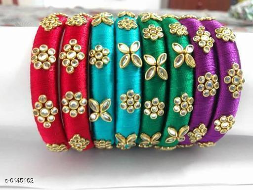 Ethnic Latest Silk Thread Handmade Bangle set For Girls And Women ( pack of 27 )