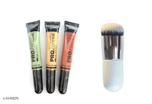 HD Pro Conceal Concealer set of 3 ( green, yellow, orange) with Makeup Brush Combo