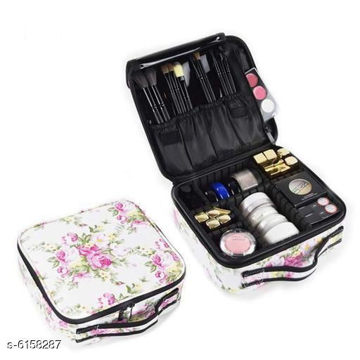 Trendy Makeup Cosmetic Storage Case with Adjustable Compartment