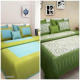 New Trendy Cotton 100 x 90 Double Bedsheets (Pack Of 2)
