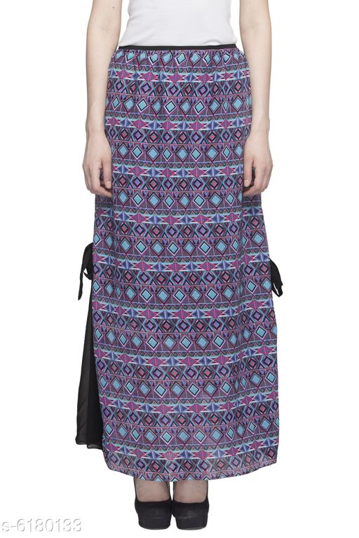 Women's Printed Long Maxi Skirt with Side Belt