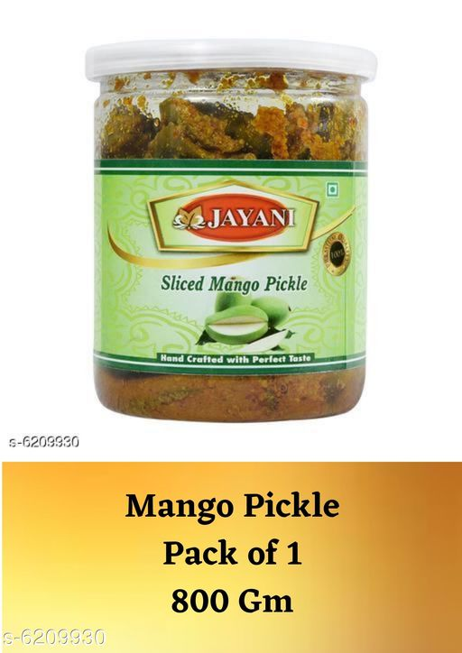 Sauces & Pickles Premium Pickles  *Product Name* Sliced Mango Pickle  *Type* Pickle  *Capacity* 800 gm  *Multipack* 1  *Sizes Available* Free Size *    Catalog Name: Premium Pickles CatalogID_959138 C89-SC1742 Code: 625-6209930-