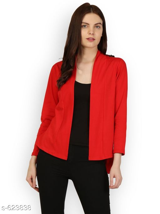 Capes, Shrugs & Ponchos Stylish Designer Women's Shrug  *Fabric* Jersey Cotton  *Sleeves* Sleeves Are Included  *Chest Size* S-36 in, M-38 in, L-40 in, XL-42, XXL-44 in  *Length* Up to 28 in  *Type* Stitched  *Description* It has 1 piece of Women's Shrug  *Pattern* Solid  *Sizes Available* Free Size, M, L, XL, XXL *   Catalog Rating: ★4.1 (408)  Catalog Name: Upstyle Shrugs Vol 3 CatalogID_70027 C79-SC1024 Code: 192-623838-