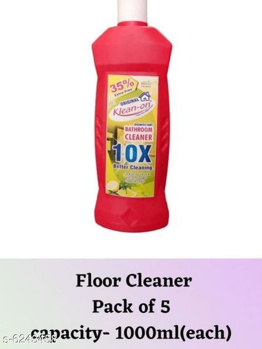 Cleaners & disinfectants Klean-On Bathroom cleaner (1000 ml)  *Product Name* Floor Cleaner  *Material* Liquid  *Brand* Klean On  *Capacity* 1000ml each  *Type* Floor Cleaner  *Description* It has 5pcs Of 1000ml Klean -On Bathroom cleaner.  *Multipack* 5  *Sizes Available* Free Size *    Catalog Name: Klean-On Bathroom cleaner (1000 ml) CatalogID_986449 C141-SC1711 Code: 963-6243458-